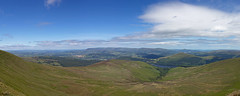 Talybont reservoir from near Carn Pica (Miche & Jon Rousell) Tags: blue sky panorama mountains green southwales wales clouds pano reservoir breconbeacons blackmountains talybont talybontreservoir summer2013