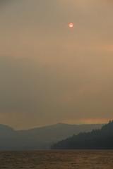 Wildfire smoke over Donner Lake (TomFalconer) Tags: california red sun lake smoke tahoe smokey wildfire donner truckee rimfire 2013