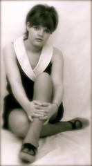 Wife, 1969 (iEagle2) Tags: blackandwhite bw woman 1969 monochrome female analog blackwhite 60s minolta legs posing teen wife analogue srt101 60´s ehefrau analogfilm