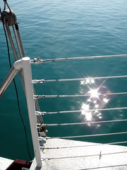 DSC09844 (Kate Hedin) Tags: sky lake chicago water lines skyline boat illinois ship michigan horizon sails windy rope pirate sail tall mast adventures
