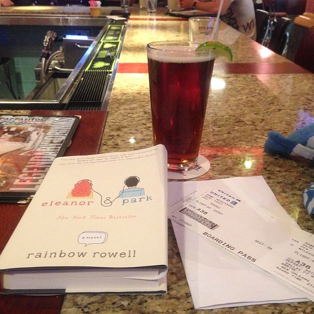 Flight delays. Blah! Thank goodness for beer + books.✈️