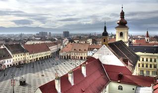 Sibiu, la Grande Place vue de la Tour de l'horloge