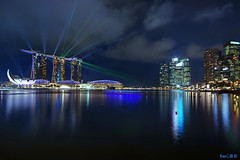 MBS Laser Show (Ken Goh thanks for 1,600,000+ views) Tags: show lighting blue light sky reflection nature water colors night marina landscape lights bay flyer singapore colorful pentax sigma laser sands 1020 hdr mbs k3 citiscape