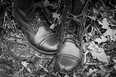 boots... (G.S. Easley Photography - 1.4 MILLION VIEWS! THANK) Tags: bw leaves leather canon boot shoe eos photo leaf adobe sole laces lightroom