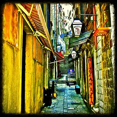 Narrow Street...Dubrovnik (MickyFlick) Tags: history tourism architecture mediterranean croatia medieval tourists pasta architectural historic pizza historical oldtown placa dubrovnik touristattraction bellezza trattoria stradun dubrovakoneretvanska mickyflick