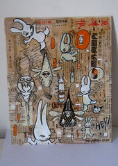 mc1984 combo sold al pais (mc1984) Tags: rabbit painting flickr canvas posca mc1984 aleister236