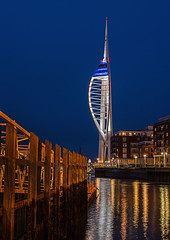 Spinnaker Tower, Portsmouth (Ian Crowson) Tags: old west tower night island lights still twilight dock spice portsmouth pubs spinnaker camber vision:outdoor=099 vision:sky=096 vision:dark=0568