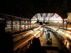 Morning at London Bridge (Deepgreen2009) Tags: roof winter light silhouette train londonbridge golden glow railway trains southern commuters platforms trainshed changed terminus