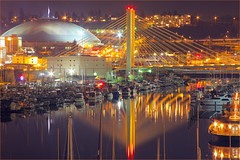Tacoma Dome and Cable Stayed Bridge, Foss Waterway. (Don Briggs) Tags: longexposure tacomadome cablestayedbridge canon40d donbriggs nightlightsandreflections tacomawashingtonatnight