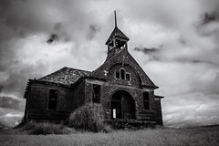Govan (Rodney Harvey) Tags: blackandwhite abandoned rural town washington decay ghost eerie spooky infrared lonely plains schoolhouse deserted