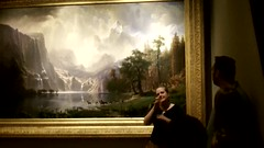 Guided tour of an Albert Bierstadt painting in sign language.  Smithsonian American Art Museum, Washington, D.C. (March 9, 2017) (lhboudreau) Tags: art artwork painting albertbierstadt bierstadt amongthesierranevada california sierranevada mountains tour guide guidedtour docent signlanguage video americanartmuseum smithsonian artmuseum sierranevadas sierranevadamountains westcoast attributes yosemite collage water waterfalls lake animals deer signing