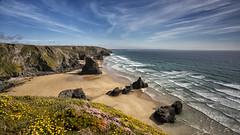 Cornish Cream (explored) (yadrad) Tags: beach cornwall thrift bedruthan bedruthansteps seapinks northcornishcoast