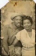 Photobooth couple. (edition_of_one) Tags: lovers africanamerican backdrop happycouple vintagephoto vintagephotograph africanamericancouple backdropphoto backdropvintagephoto