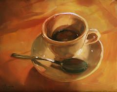 Caffe-Italiano (ChristopherClarkArt) Tags: original italy stilllife food art coffee painting italian paint artist fine christopher daily clark painter oil impressionism espresso cappuccino impressionist caffe