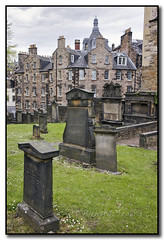 Tombstones and Townhouses (seagr112) Tags: uk graveyard scotland edinburgh cemetary tombstone gravemarker a900 sonyalpha