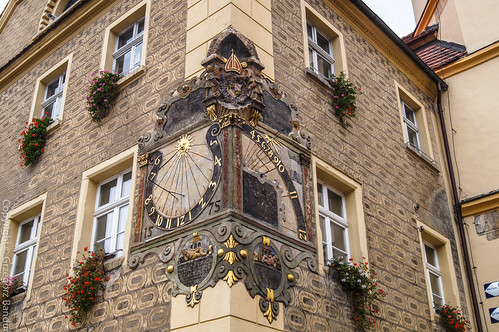 Otmuchów - solar clock at Town Hall
