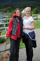 Smiles now they have finished the walking leg, Theresa Leith and Chloe Baxter of Peter Graham Associates. Photo courtesy of Karen Carruth, The Scottish Farmer