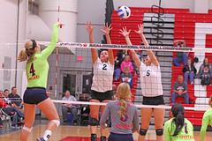 IMG_2290 (SJH Foto) Tags: girls net college jump shot action battle tournament spike midair volleyball block