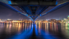Blue Belly (Sean Batten) Tags: city longexposure blue england london water metal thames nikon cityscape unitedkingdom steel millenniumbridge nighttime d800 1424 vision:sky=0963 vision:dark=0891