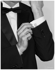 Photo Challenge. Subject - Dinner. (Maw*Maw) Tags: bw white black dinner photoshop canon eos mono tie bowtie jacket bow crop layers cuff cufflink 50d cs5