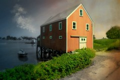 Home on Cape Porpoise (floralgal) Tags: sunset boat pond dusk kennebunkport boating cape kennebunkportmaine saltbox houseonstilts capeporpoise homeonthewater newenglandhome mainehomes typicalnewenglandhome