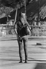 SBC (anechoic_photos) Tags: street bw woman film girl back pants legs d76 jeans behind sbc ilford sobernardodocampo ilfordpan400 pan400