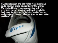 house theft (Drew Daves) Tags: fiction house bird set fairytale digital writing typography shoe tiger text story fantasy write written shortstory tale myth selfpublishing