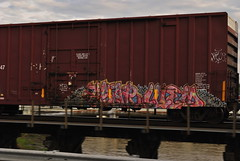 ASAR LUEM (over water) (tinsel town tommy) Tags: bridge water train graffiti nikon texas over bomb asar freight sugarland luem benching d3000