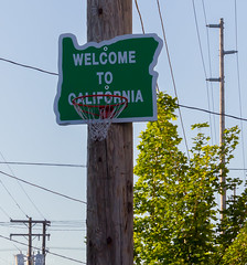 Welcome to California (Wolfy) Tags: wood blue portrait usa signs green metal oregon word portland outdoors daylight us spring symbol unitedstatesofamerica northamerica ontheground lettering insignia utilitypole utilities magichour communications goldenhour protestsign humoroussign verticalorientation