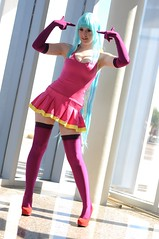 ME! ME! ME! (Anime Indian) Tags: pink arizona woman game anime sexy stockings girl beautiful japan lady pretty legs tucson cosplay exhibition tcc cosplayer mememe miniskirt bluehair dwango animators conni qki connichiwa teddyloid connichiwa2015