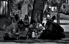 """Where's Our Double-Bassist, We Are On In Five"" (standhisround) Tags: trees people music london musicians guitar group jazz westlondon portobelloroad"