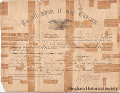 Civil War Discharge (Old Derby) Tags: usa ma unitedstates massachusetts military civilwar document historical hingham hinghamhistoricalsociety ezrawilderjr 32ndvolunteerinfantry