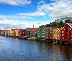 Trondheim (Eric_G73) Tags: houses sky house building water norway architecture clouds buildings river boat colorful colours bluesky quay colourful trondheim