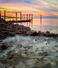 The colorful sunrise (Ah Wei (Lung Wei)) Tags: penang penangisland georgetown pulaupinang malaysia georgetownpenang my sunrises sunrise landscape shore clouds seashore seascape nikon50mmf18g 50mmf18g nikond750 nikon ahweilungwei penangbridge magichour gelugor