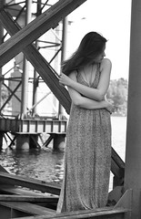 Luba (nowise) Tags: street bridge portrait blackandwhite woman white black building water girl beautiful stairs fence dark hair blackwhite spring nice nikon pretty industrial dress creative style ukraine clothes kiev kyiv