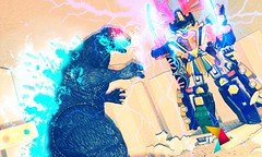 Godzilla vs. the Power Rangers! (ruiz.jesus59) Tags: city toy photography miniatures action godzilla figure samurai figures sets powerrangers tokusatsu megazord