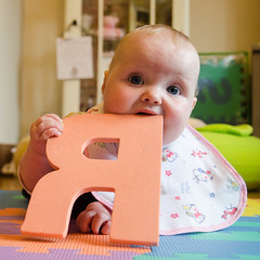 Jessica Rawr! - #123/#365 (Sean_Smyth) Tags: baby cute happy play bib biting mat r 365