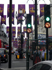 Celebrating queens 60 years coronation banners purple gold Regent Street London England 15th June 2013 republic 15-06-2013 17-35-42 (dennoir) Tags:
