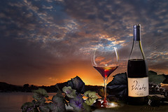 There is nothing quite like a good glass of wine (alicecahill) Tags: california red sky glass composite clouds happy bottle colorful wine drink relaxing spirits workshop montage setup reward