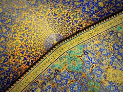 Beautiful sunrise in the Islamic mosaic world (German Vogel) Tags: asia beautiful ceiling decoration design floral geometry imammosque iran isfahan islam islamic islamicrepublic middleeast mosque muslim safavid semicircle sheikhbahaei tile tilework westasia gettyimagesmiddleeast tourism travel mosaic art muslimculture