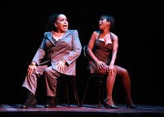 """Roz Ryan (Matron """"Mama"""" Morton) and Brenda Braxton (Velma Kelly) in Chicago produced by Music Circus at the Wells Fargo Pavilion August 20-29, 2013. Photo by Charr Crail."""