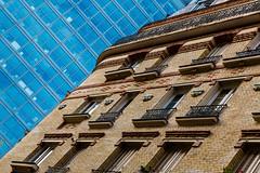 Collision (fidgi) Tags: blue urban paris brick glass architecture canon angle bleu brique verre canoneos5dmk3