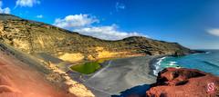 Green Lagoon - Panoramic HDR (PangolinOne) Tags: sea panorama beach landscape spain lanzarote places coastal canaryislands hdr highdynamicrange hdri yaiza elgolfo riverlake highdynamicrangeimaging