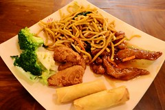 Buffet Plate #1 (Vegan Butterfly) Tags: city urban food chicken vegetables dinner restaurant vegan spring yummy edmonton dish tasty plate diner broccoli meat delicious meal vegetarian noodles rolls soy buffet supper veggies eatery mongolian meatless padmanadi