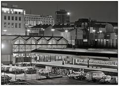 Birmingham Moor St by night 1982 (geoff7918) Tags: station birmingham selfridges 2a marksandspencer lewiss moorstreet 50069 class116 postandmail carrslanechurch