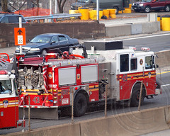 "E043e FDNY ""Sedgwick Slashers"" Engine 43 on I-87 Major Deegan Expressway, Bronx, New York City (jag9889) Tags: county city nyc ny newyork truck fire bronx engine company borough fdny department firefighters seagrave sedgwick bravest slashers 2011 sedgwickavenue morrisheights e043 y2011 jag9889 ens12"