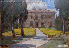 Romualdo Prati Villa olio su cartone 25x36cm Collezione privata