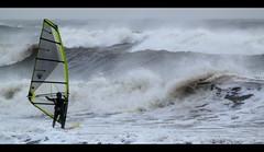 Windsurfing. Aberdeen Beach, Christmas Storm. (PeskyMesky) Tags: storm beach canon aberdeenshire aberdeen northsea windsurfing northeastscotland aberdeenbeach canoneos500d christmasstorm mygearandme