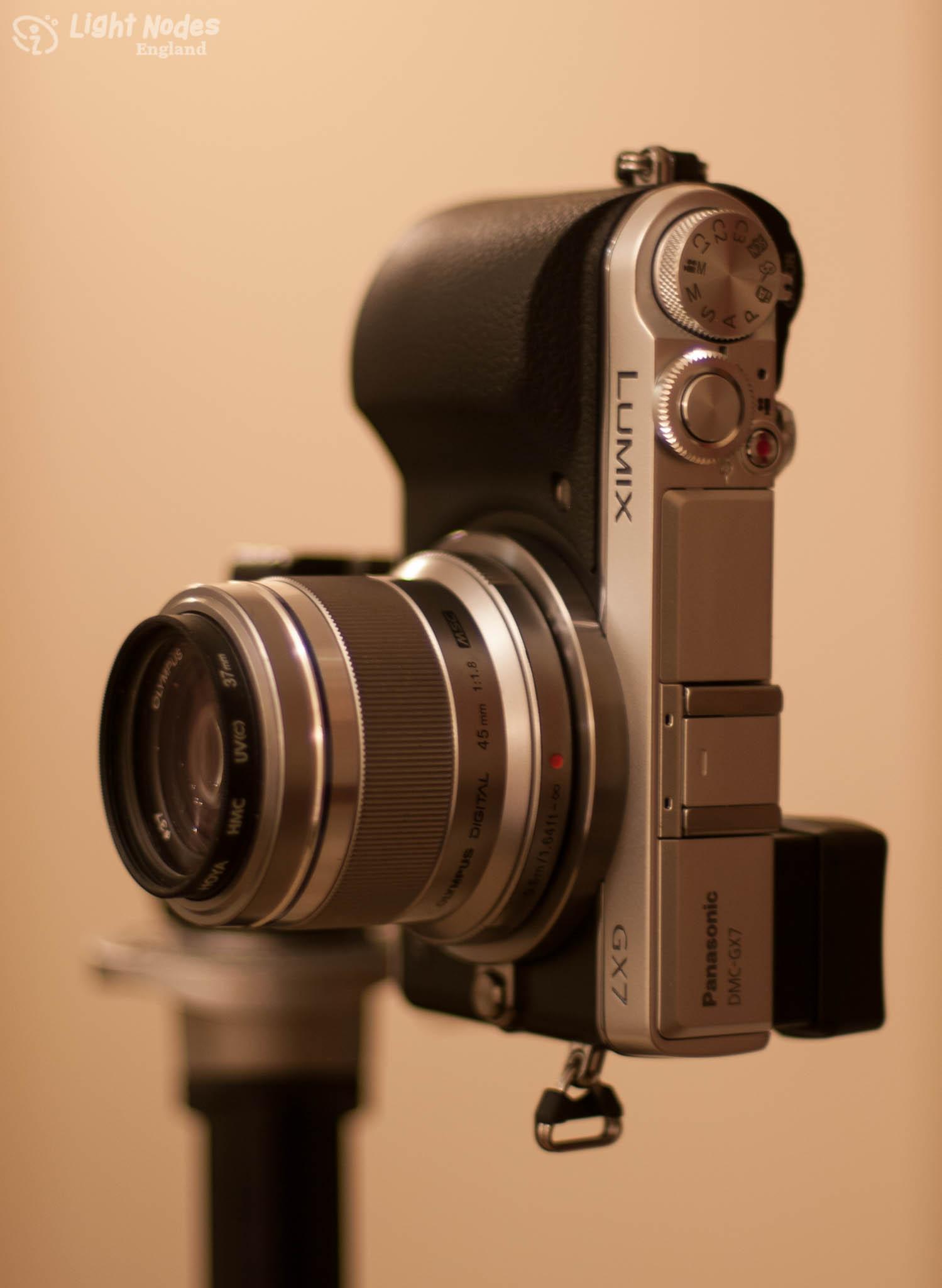 Lumix GX7 with Olympus M.45mm f/1.8 on tripod