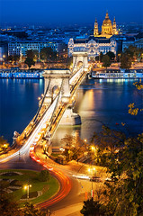 Budapest (Robert Prucha) Tags: old city longexposure bridge motion reflection building history monument water architecture night river lights movement twilight europe hungary view rooftops dusk basilica budapest trails clear lighttrails bluehour danube chainbridge szechenyi